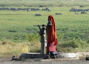Masai woman collecting water at the well outside the Boma (and too close to the swamp).