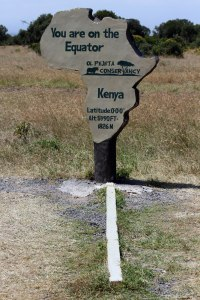 The equator sign in the Ol Pejeta Conservancy.