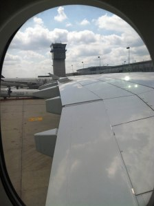 The wing of our Airbus stretched very far out and  were huge.