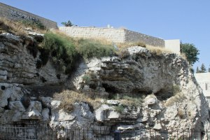 Golgotha near the Garden Tomb. A face can be seen in the rock of the skull.