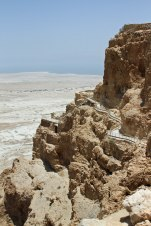 A view of Masada, the palace was spread across several layers . The path to the water cisterns can be seen along the side.