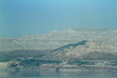 Looking across the Dead Sea to Jordan. An interesting shape in the mountainside.