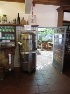 The self-service wine vat at the restaurant.