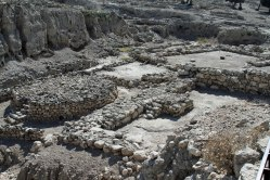 Excavated ruins on the Tel at Megiddo.