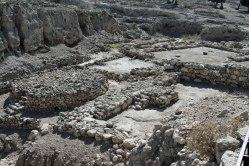Excavated ruins on the Tel at Megiddo.