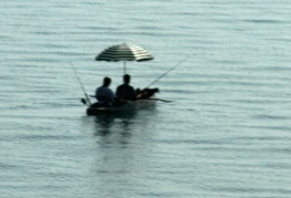 Just two guys hanging out on the Sea of Galilee.