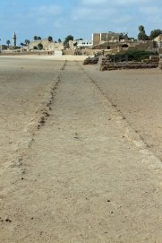Looking down the Hippodrome at Caesarea. This middle part is where the chariots raced around.