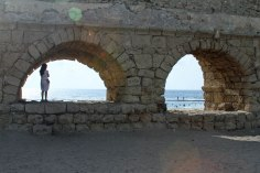 An ancient Roman aqueduct near Caesarea.